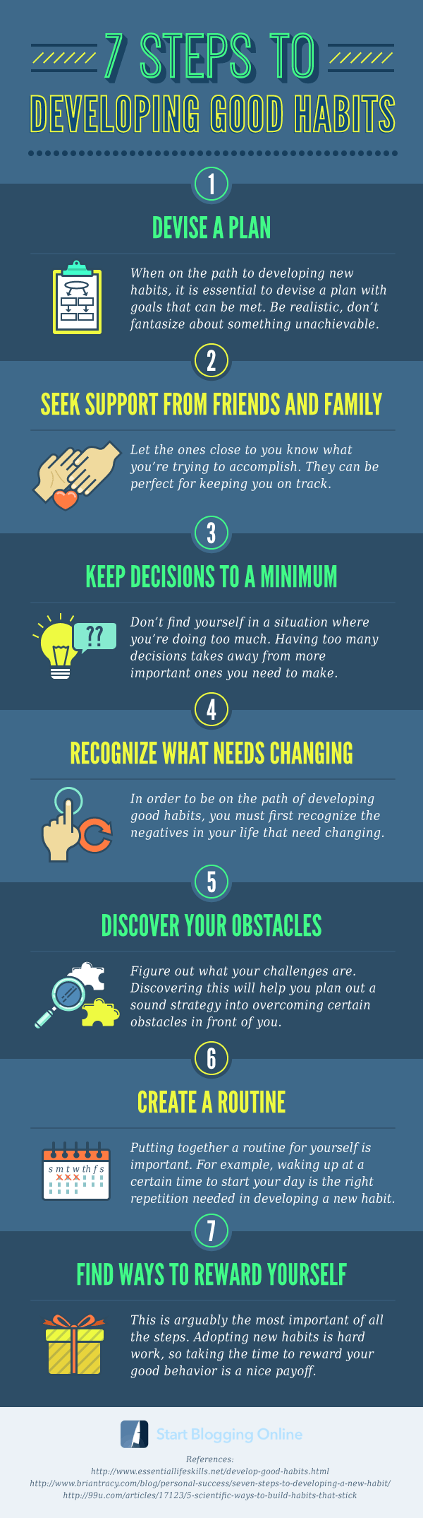 Changing Tracks: Developing Good Habits in 7 Easy Steps - Infographic