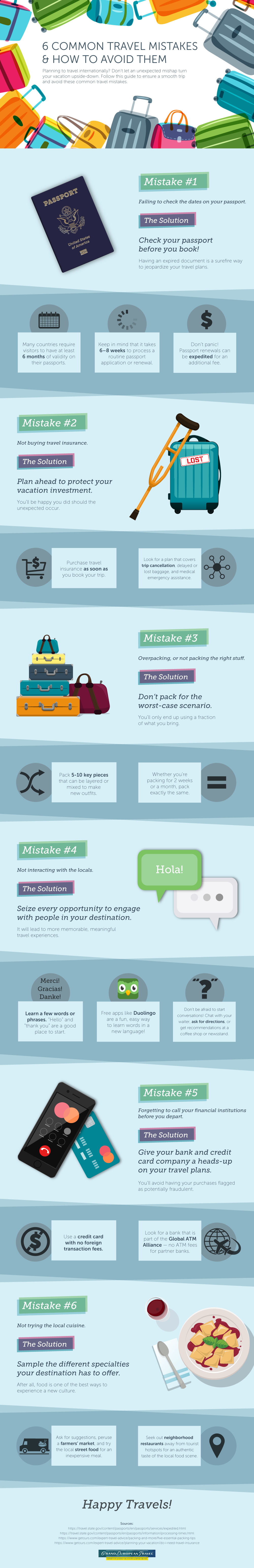 6 Typical Mistakes that Travelers Make and How to Avoid Them - Infographic