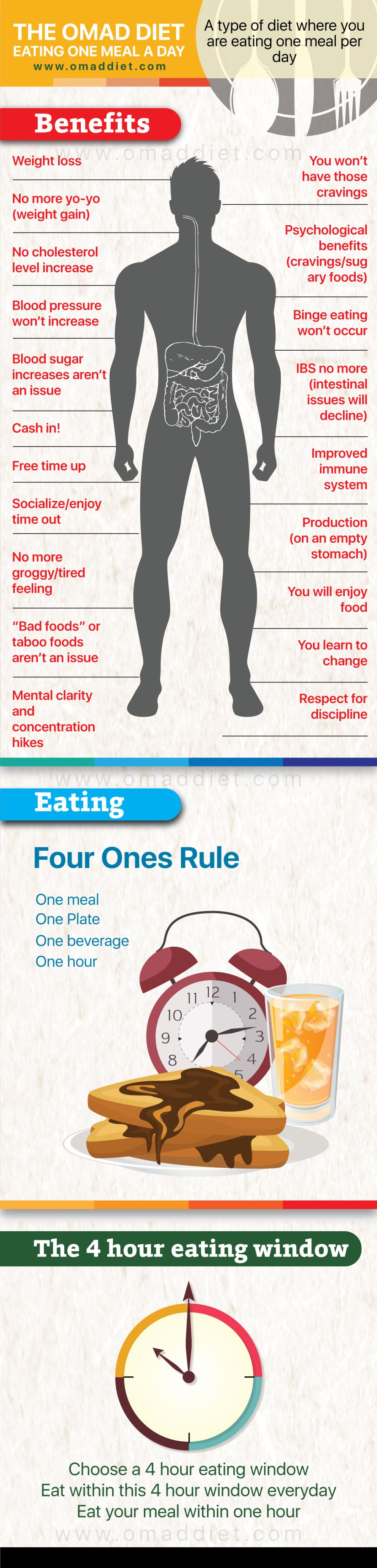 How to Get Healthier by Eating Only One Meal a Day: The OMAD Diet - Infographic
