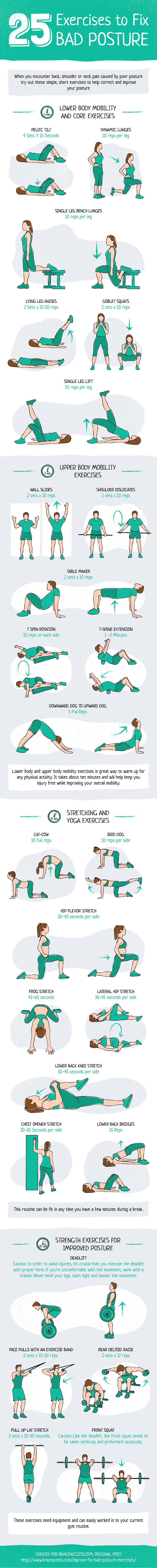 Butt-in-Chair Syndrome: Develop Correct Posture with These 25 Exercises - Infographic