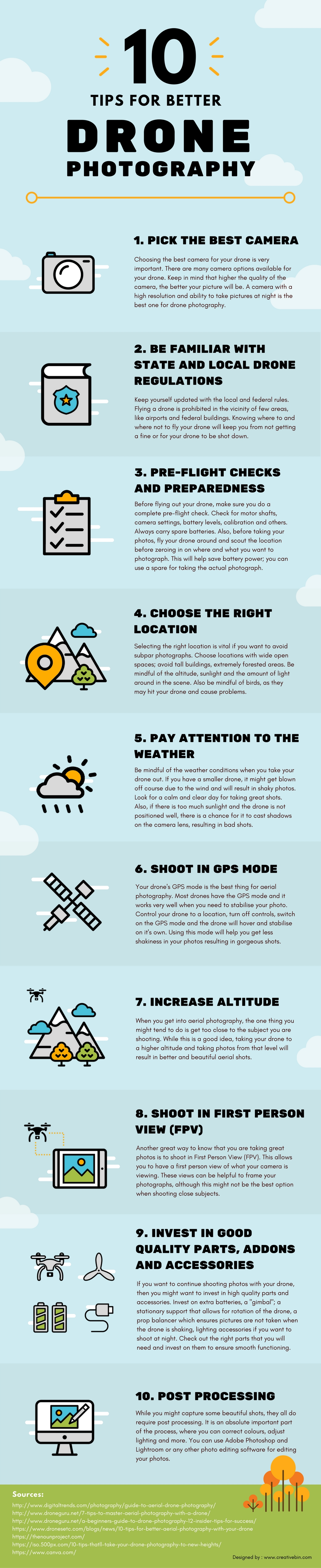 How to Get the Best Drone Photographs: 10 Valuable Tips - Infographic