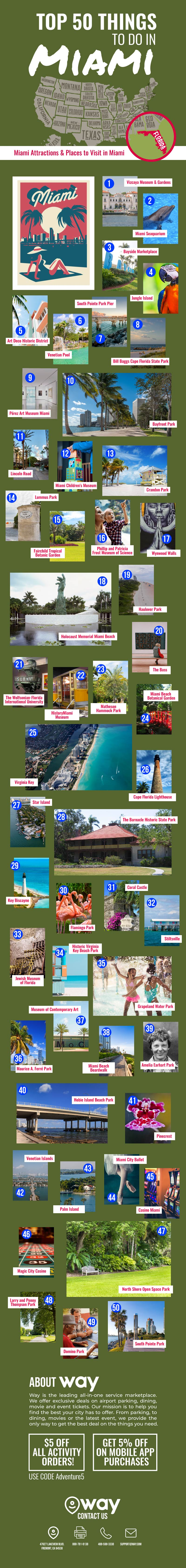 50 Must-Do Must-See Places in Miami - Infographic