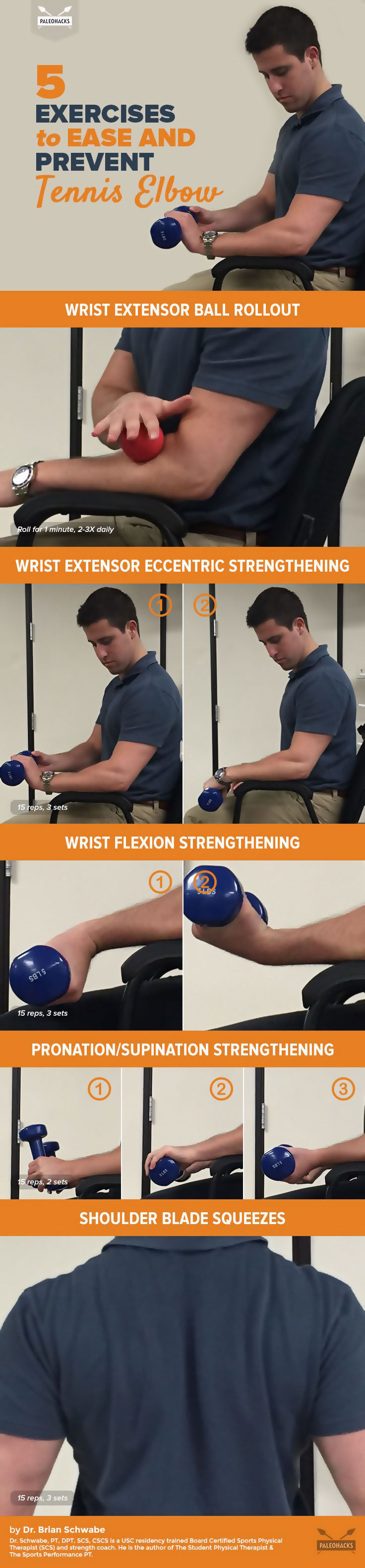 Painful Tennis Elbow? Fight Back with These 5 Exercises - Infographic