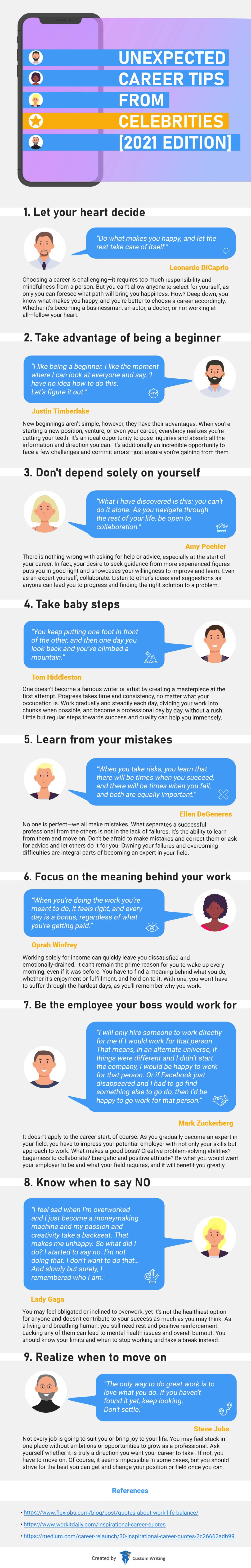 Unexpected Career Tips from Celebrities - Infographic
