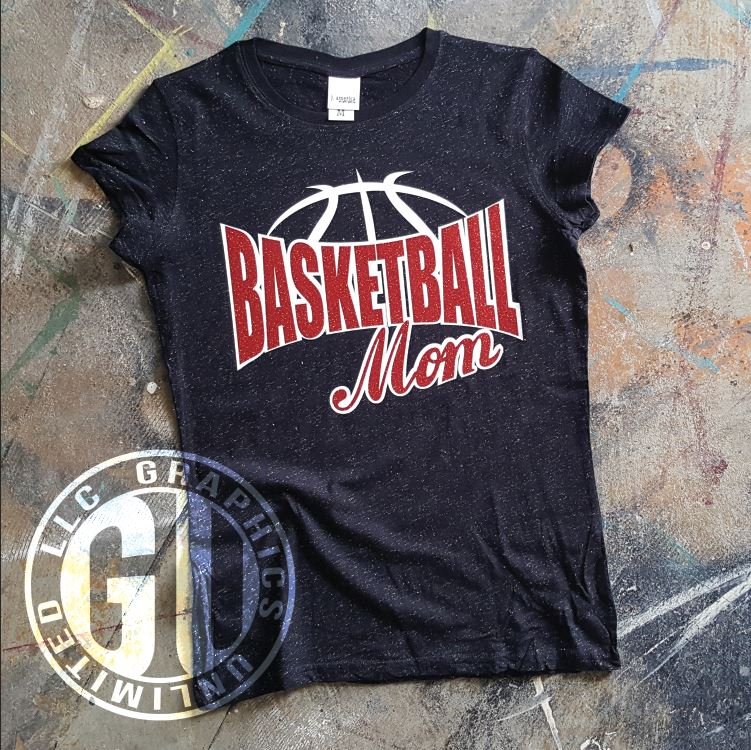 75a8fcc0c Basketball Mom Women s Glitter T-Shirt – More Glitter Color Options