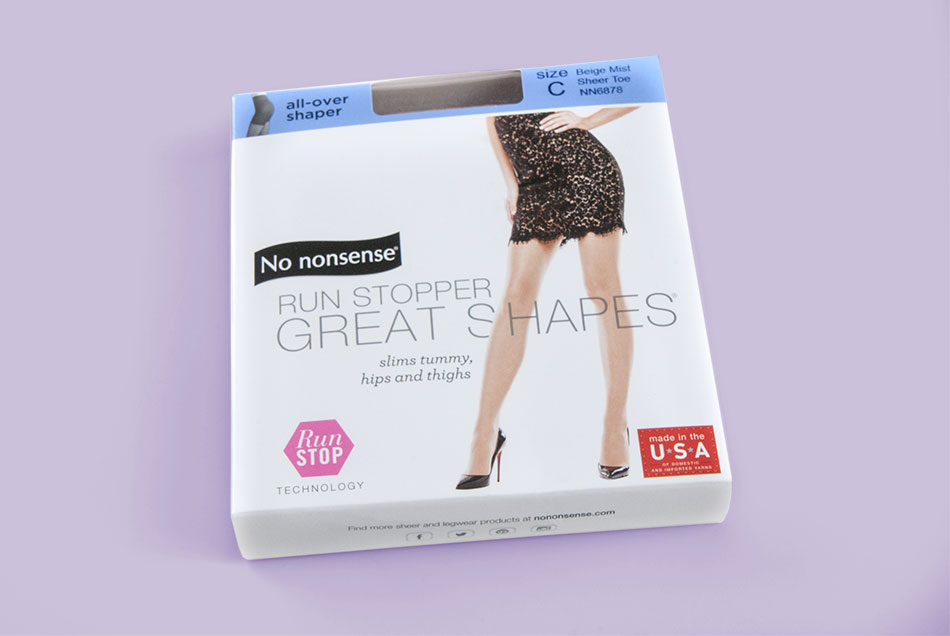 No Nonsense - Run Stopper Great Shapes Hosiery Packaging | Graphic Visual Solutions - Labels & Packaging