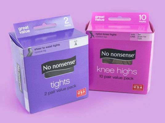 No Nonsense - 2-Pack Tights & 10-Pack Knee Highs Cartons | Graphic Visual Solutions - Labels & Packaging