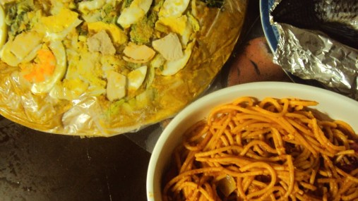 Palabok and spaghetti lengthens your... I don't know.