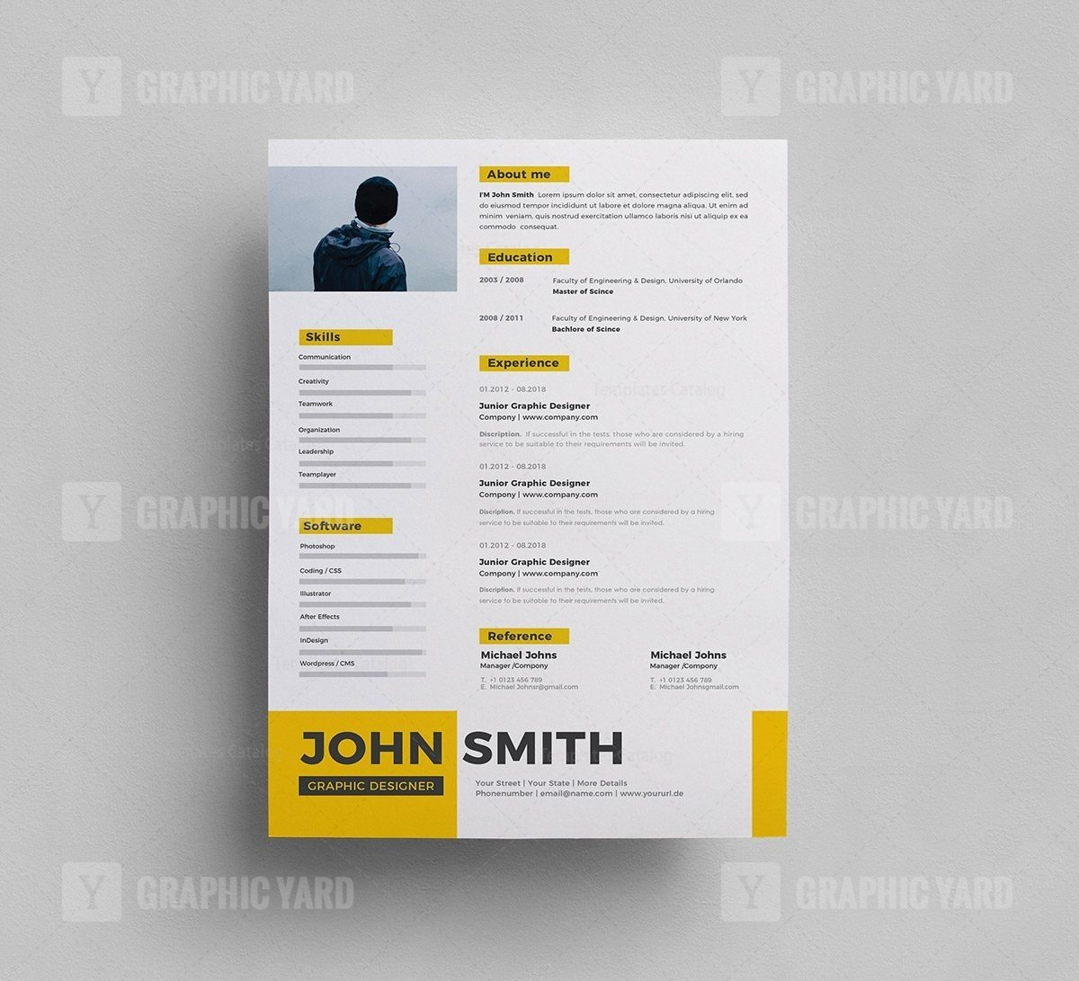 Free PSD Resume Template - Graphic Yard