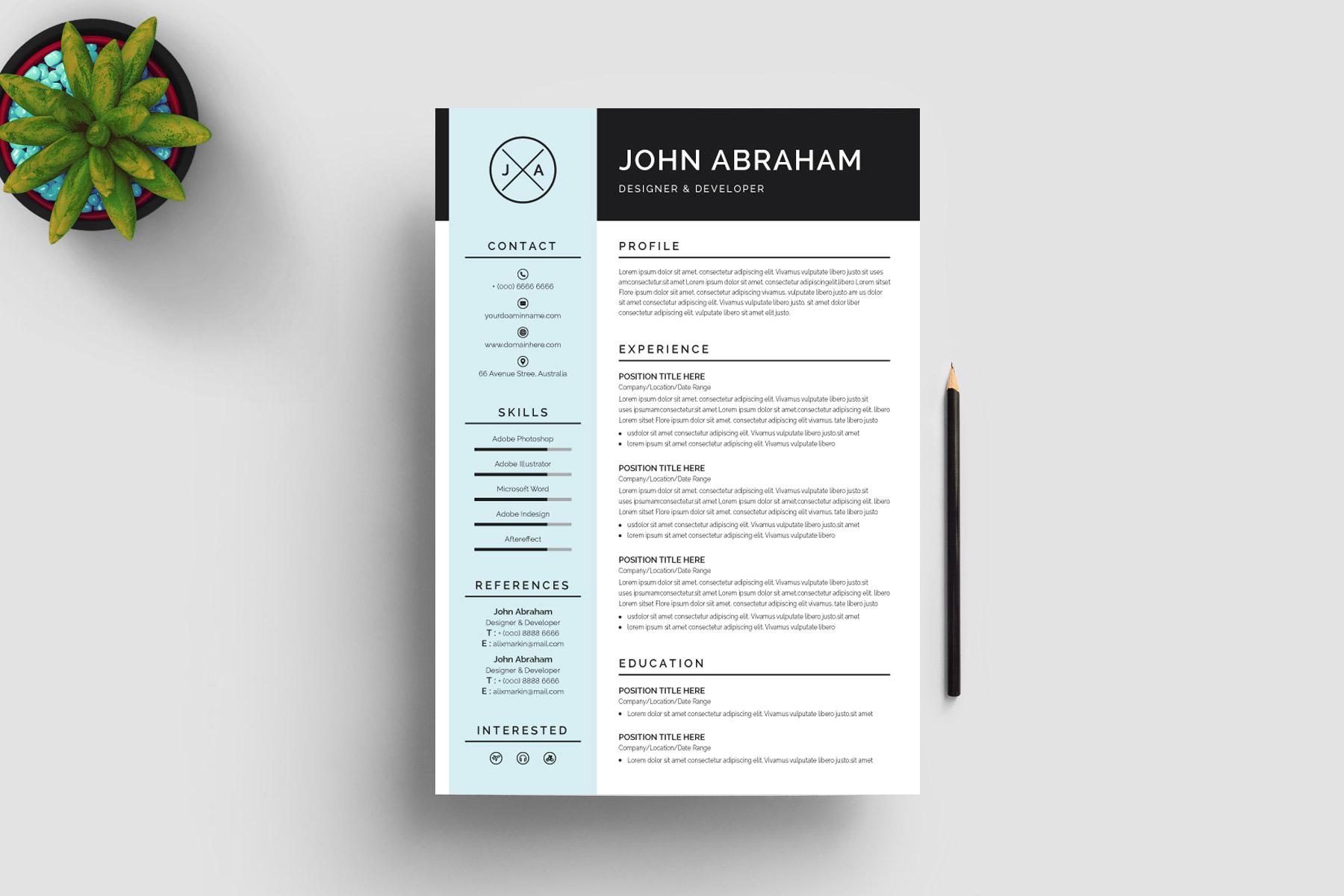 sleek resume design template  u00b7 graphic yard