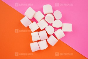 Group of marshmallows on colorful background stock image