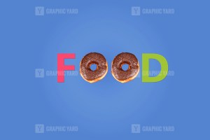 Food word made with donuts
