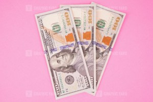 Hundred Dollars Isolated on Pink Background