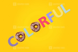 Letters with doughnuts in word Colorful