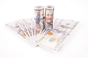 US Dollar bills isolated on white