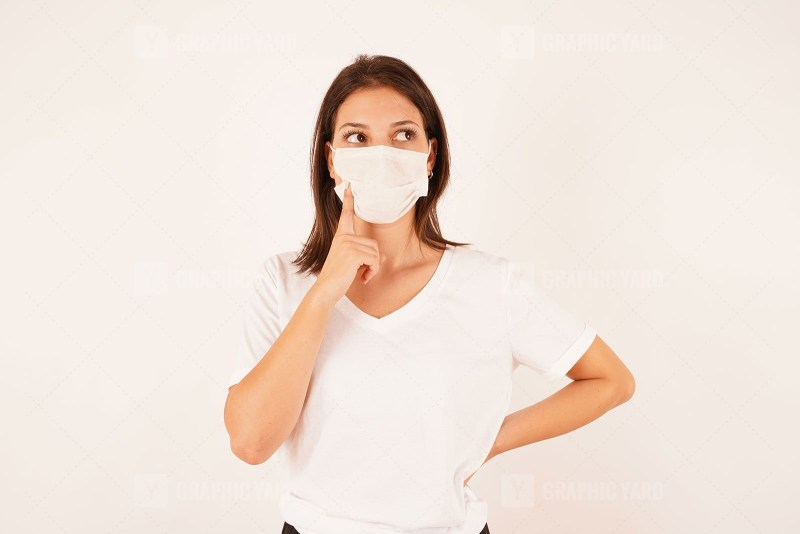 Attractive woman wearing medical mask