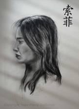 Sophie - Fusain sur papier canson - 60x42 cm