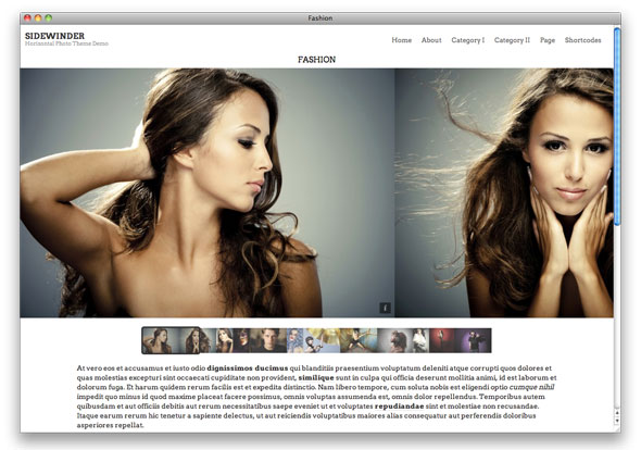 Sidewinder photo theme for WordPress