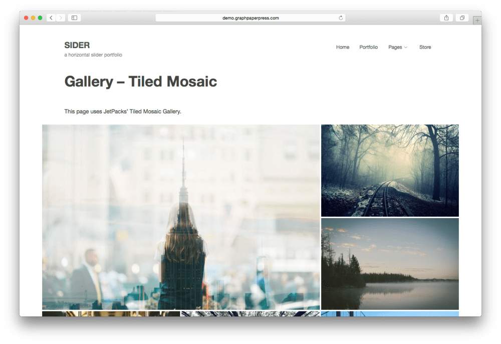 Sider horizontal scrolling WordPress theme - Mosaic