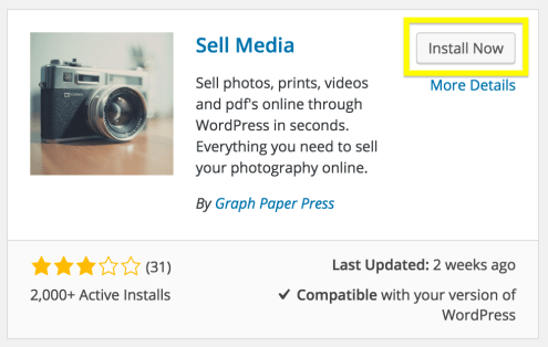 The Sell Media plugin install screen.