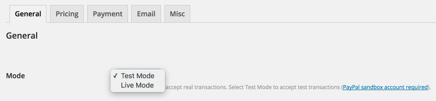 The Test Mode settings of the Sell Media plugin.