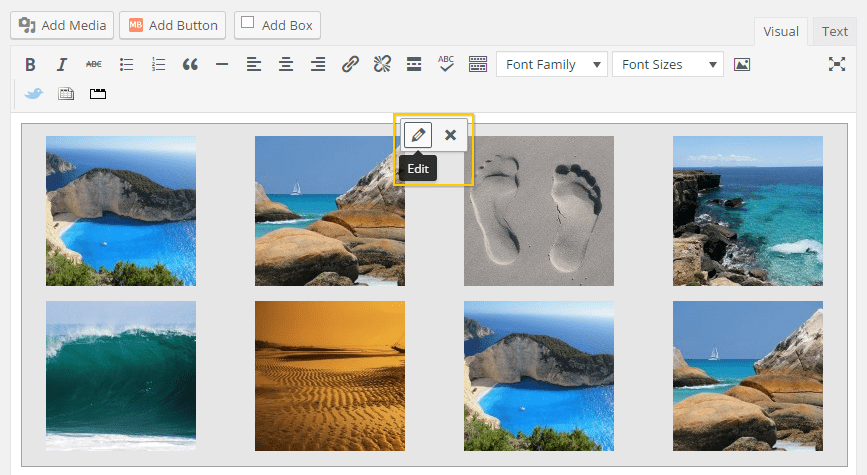 Editing the gallery page's elements.