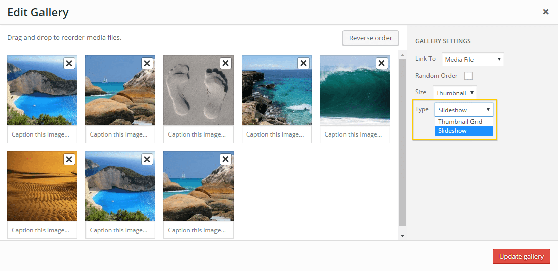 The Edit Gallery page, highlighting the Slideshow type within its dropdown.