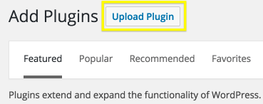 The Upload Plugin button on the WordPress dashboard.