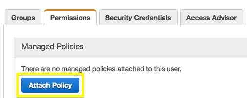 The Attach Policy screen in Amazon S3.