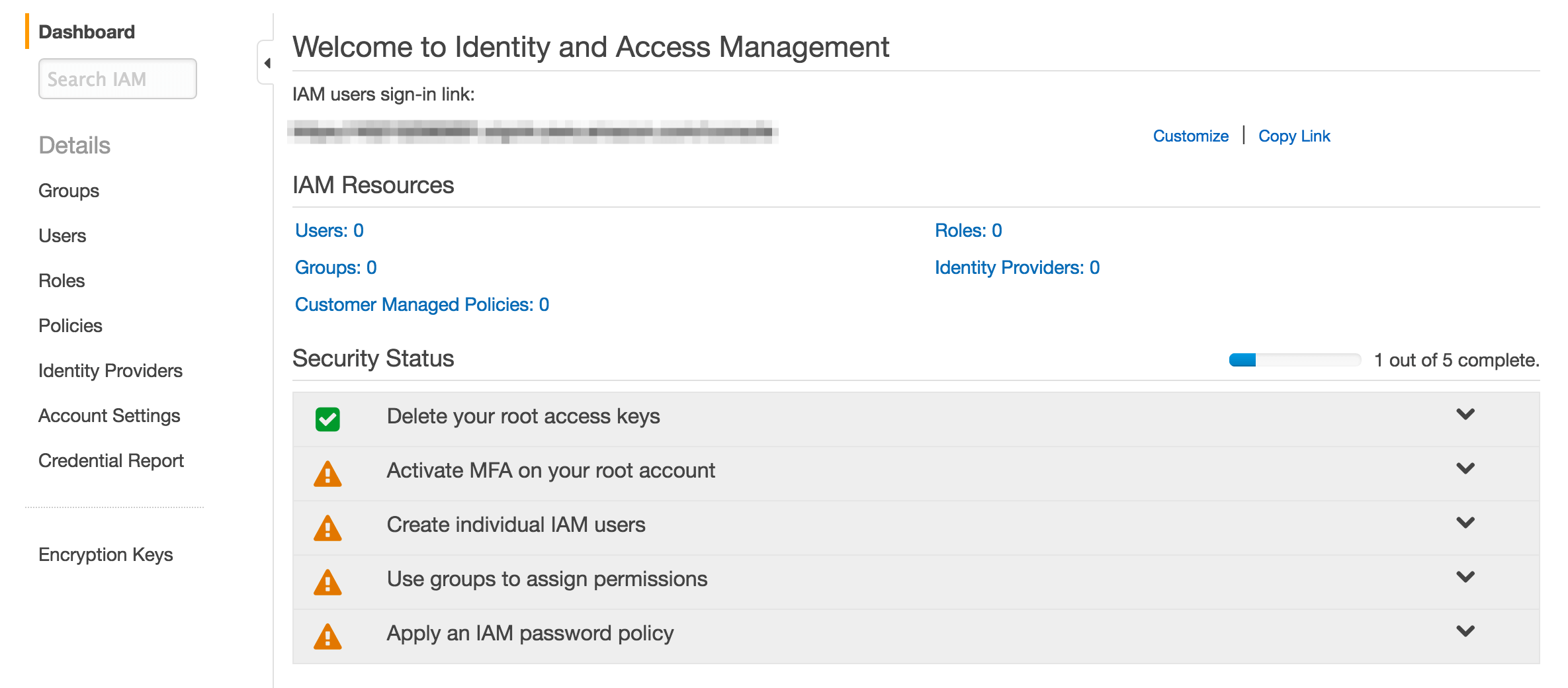 The IAM dashboard in Amazon S3