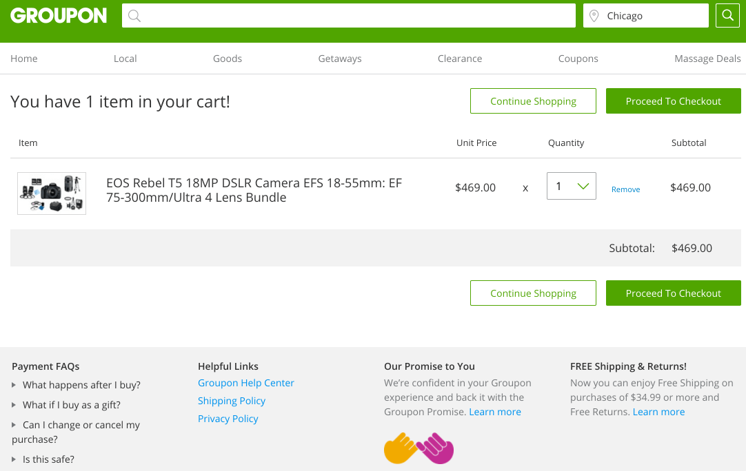 The Groupon checkout page.