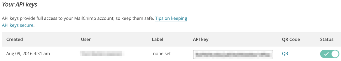 The API Keys displayed in MailChimp.