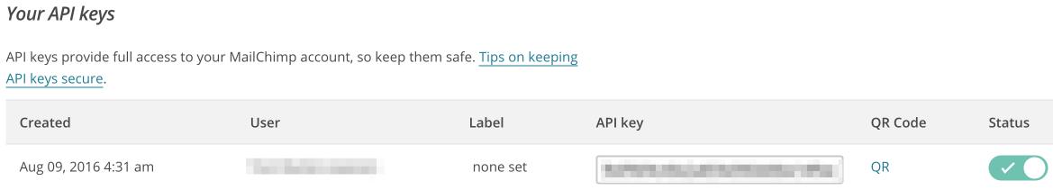 The API Keys displayed in MailChimp.