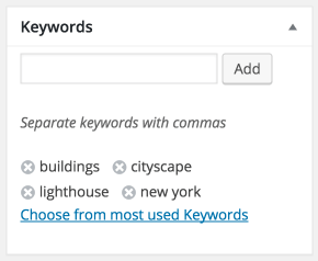 The Sell Media Keywords meta box.