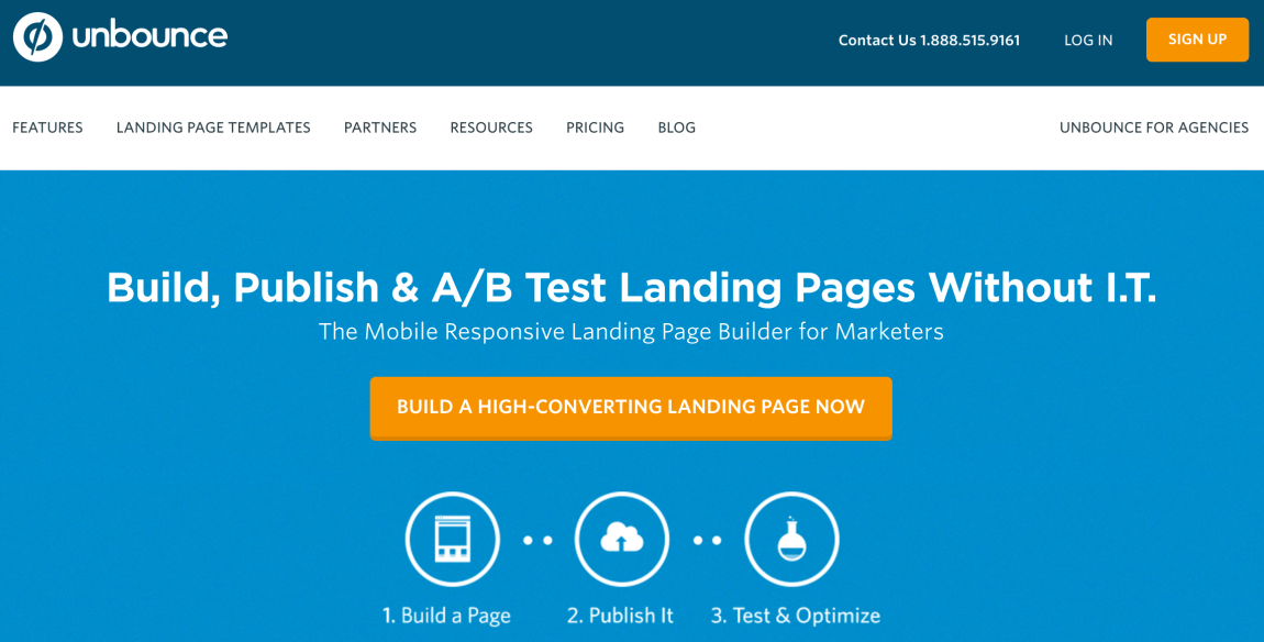 The Unbounce homepage.
