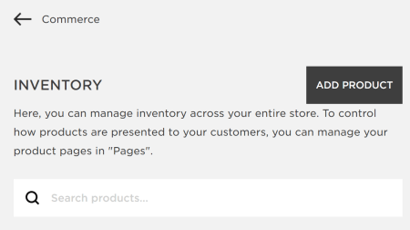 The option to add a product to Squarespace.