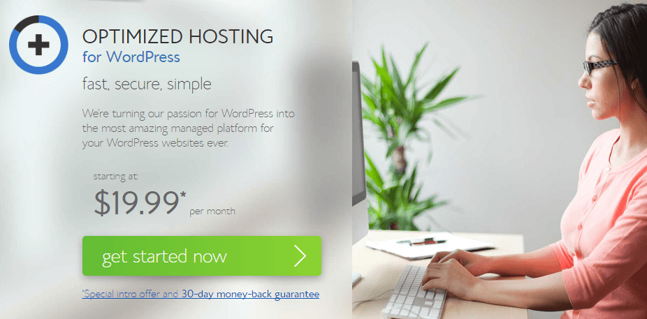 The Bluehost homepage.