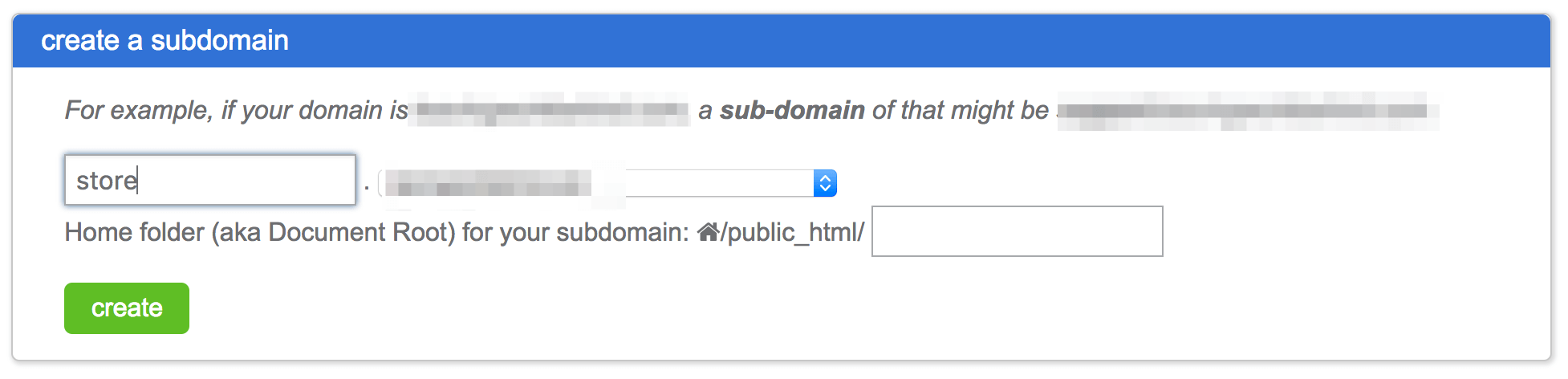 The Create a Subdomain dialog.