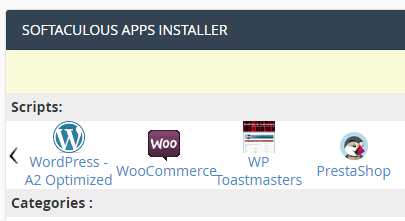 The Softaculous App Installer.