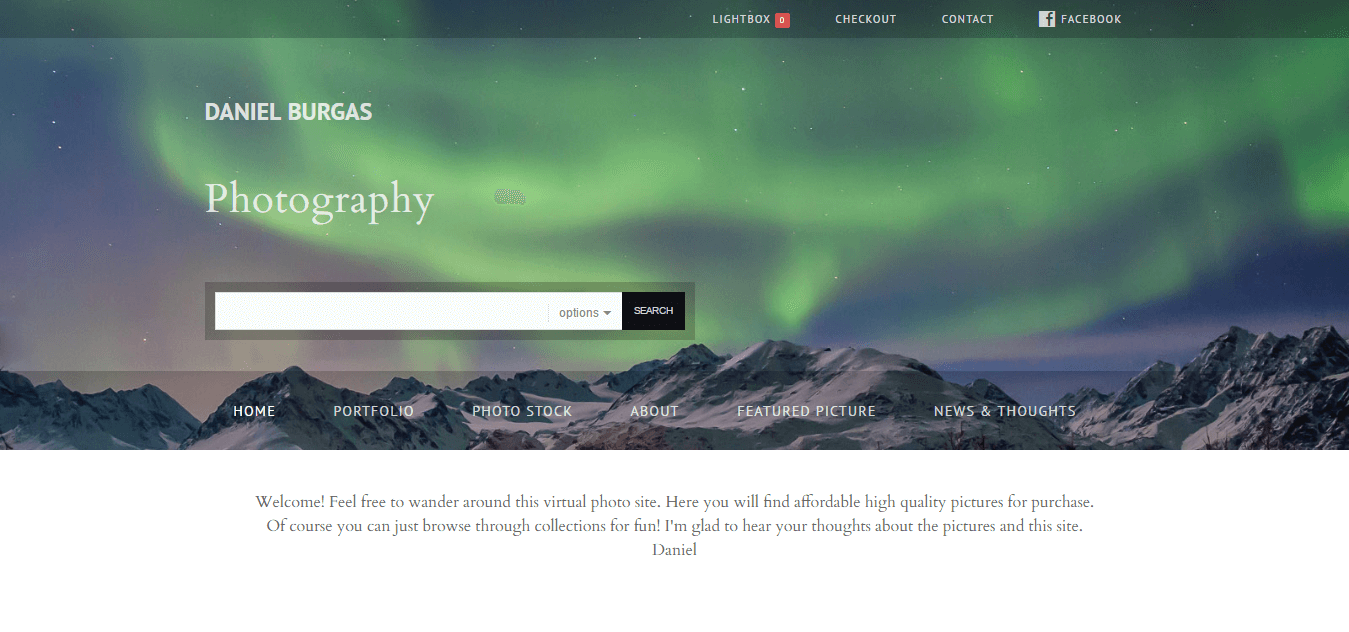 Daniel Burgas Photography homepage