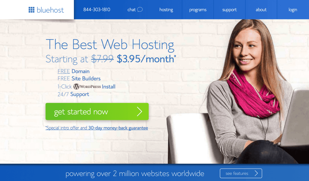 The Bluehost home page.