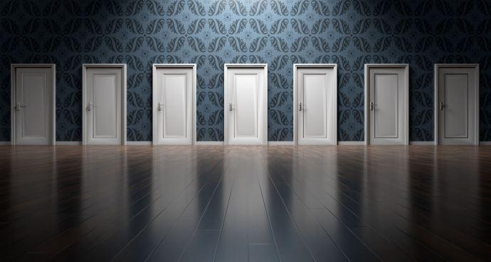 A set of nondescript doors.