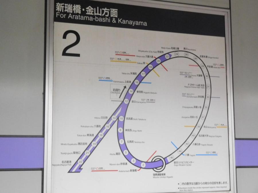 名城線右回りの路線図