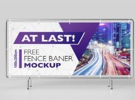 Fence Banner Mockup Download
