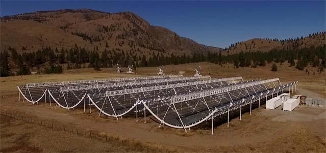The CHIME telescope, a massive radio telescope located in Penticton, British Columbia. Credit: CHIME/DRAO