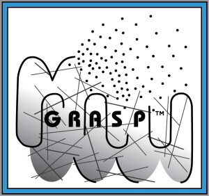 The GRASP logo, a black and white abstract drawing of two fists together, with a black GRASP in the center.