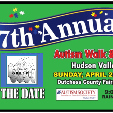 A flyer for the 17th Annual Autism Walk & Expo of the Hudson Valley, Sunday, April 29, 2018, Dutchess County Fairgrounds, 9:00-1:00pm, Rain or Shine