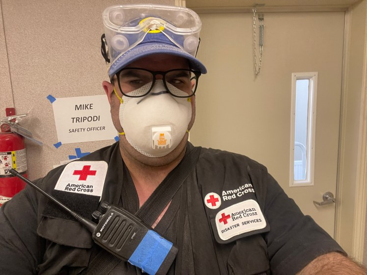 A selfie photo of Mike Tripodi. He is demonstrating use of PPE while in his Red Cross Uniform.