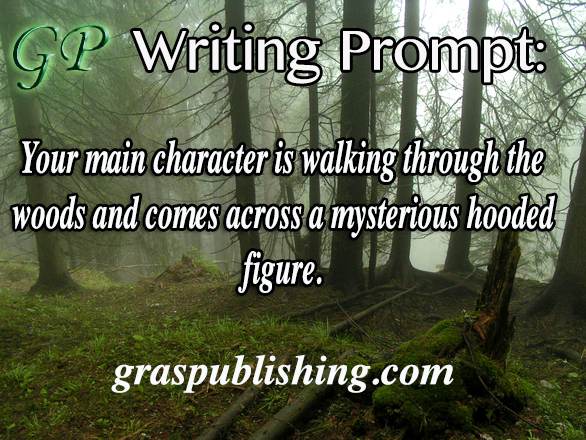 Gras Publishing Writing Prompt: Your main character is walking through the woods and comes across a mysterious hooded figure.