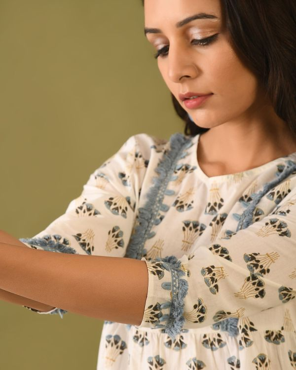 Woman wearing exclusive Block Printed top with trim